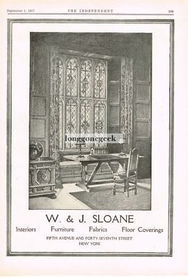 1917 W & J Sloane Interiors Furniture 5th Ave & 47th Street NY art Vtg Print Ad