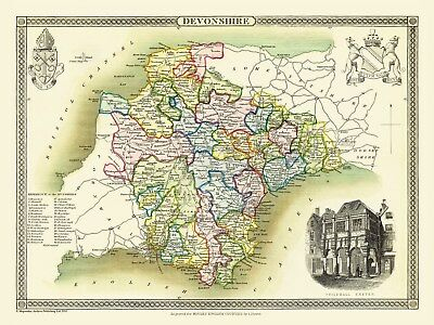 "Old map of Lincolnshire 1836 by Thomas Moule 12/"" x 9/"" Photographic Print"