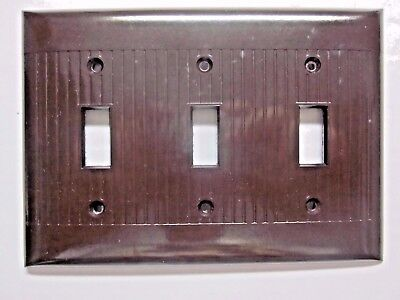 Vintage new old Sierra ribbed brown bakelite 3 gang switch wall plate cover Deco