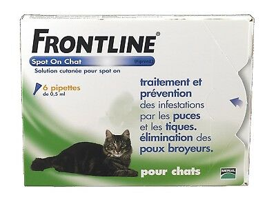 Authentic Frontline Spot On Flea Treatment for Cats 0.5mlx 6 Pipettes Ticks Lice