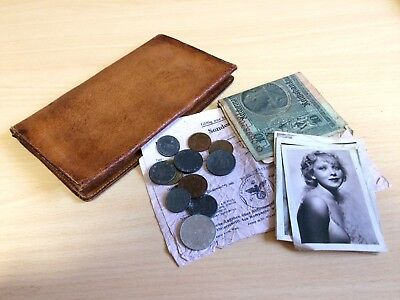 WW2 Authentic Nazi Wallet With Travel Documents, Coins, Money, And Photographs