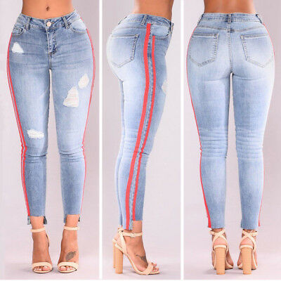 Women's Slim Pencil Stretch Casual Denim Skinny Jeans Pants High Waist Trousers