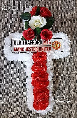 Manchester United Funeral Cross Old Trafford Artificial Flowers Grave Tribute