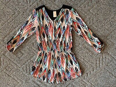 Girls Boutique Tru Luv Romper Size 10 Black Multi Color 3/4 Sleeves