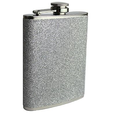 8oz Hip Flask Stainless Steel Silver Glitter Design Hip Flask Best Quality Flask