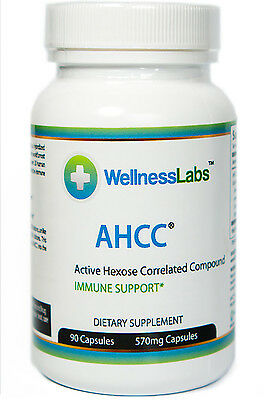 AHCC Wellness Labs -- 90 Capsules - 570mg Buy One Get One Free!