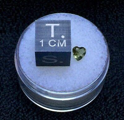 Faceted Moldavite Heart ~ 4mm / .22ct from Czech Republic by Meteorite Men Steve