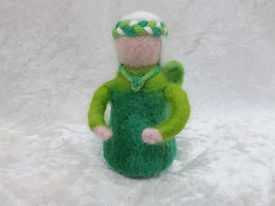 Beautiful Handmade Green NEEDLE FELTED Fairy Needle felting fairies