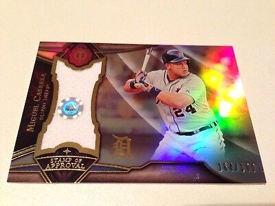 Miguel Cabrera 2016 Topps Tribute Refractor Stamp of Approval Jersey Card #/199