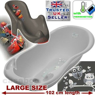SET LARGE 102cm length Baby Bath Tub + seat cars & THERMOMETHER grey owls
