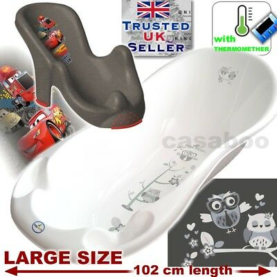 SET LARGE 102cm length Baby Bath Tub OWL white + seat disney cars &THERMOMETHER