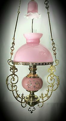 Antique Oil Lamp French Chandelier Victorian Hanging Ornate Pink Opaline Shade