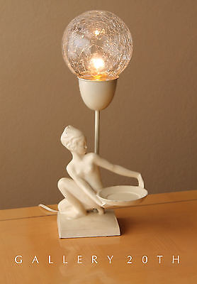 GORGEOUS FRANKART ART DECO SCULPTURAL LAMP! Girl Crackle Glass Ashtray Vtg Sexy