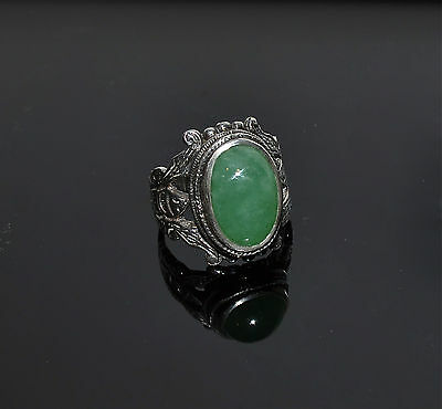 Antique Chinese Natural Jade Cabochon Ring Sterling Silver Bat Ring Size 9-1/4