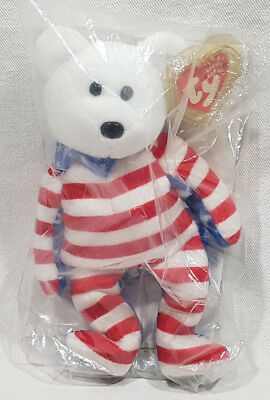 Ty Beanie Babies 2001 Liberty Bear Babies Plusy Tag USA American Red White Blue