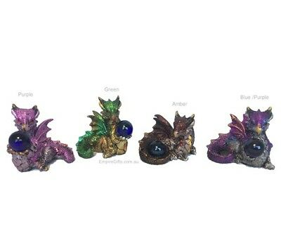 1 x Baby Dragon with Gem Ball Various Colours Gothic