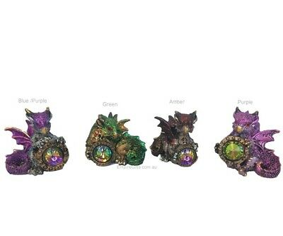 1 x Baby Dragon with Crystal Gem Various Colours Gothic