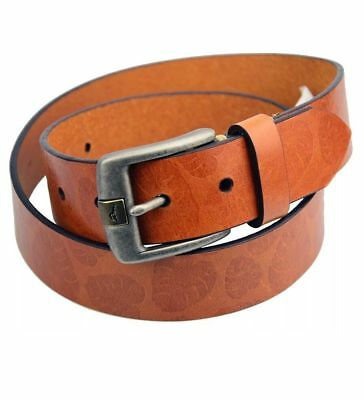 """TOMMY BAHAMA Belt Tan / Brown PALM LEAF EMBOSSED 1 3/8"""" Wide LEATHER $88 NEW"""