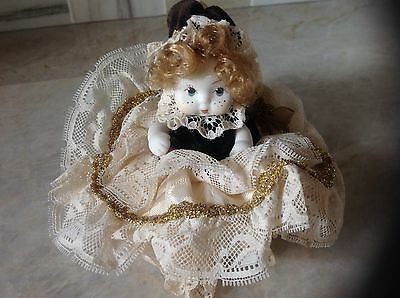 """Vtg. Italian Bisque Porcelain Doll Jointed Hand Painted 5"""" Tall"""