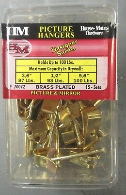 15Pk Picture Hangers For Up To 100Lbs, Brass-Plated Crown Bolt Picture Hangers