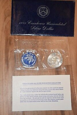 1971 S SILVER Ike Eisenhower 40% Silver Dollar with US Mint Seal Envelope Card