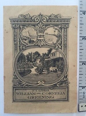 Ornate 1915 Ex Libris William and Cornelia Greening Bookplate