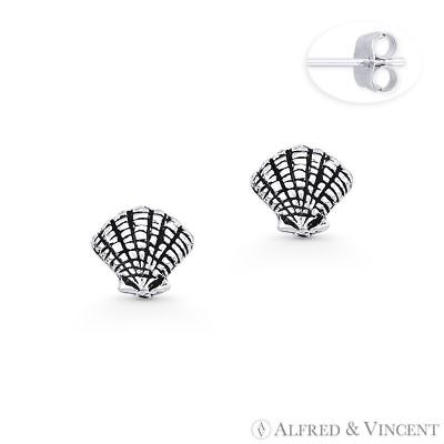 Scallop Clam Seashell Studs .925 Sterling Silver Sea Animal Charm Stud Earrings