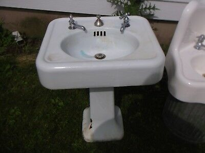 Antique Porcelain Bathroom Pedestal Sink