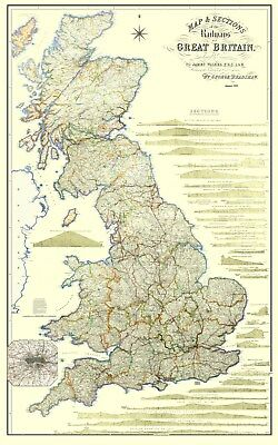 Bradshaw's Railway Map of Great Britain 1839 - Large Laminated  - ONLY ONE LEFT