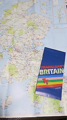 Trafalgar's Travel Fold Out Tour Map of Britain Scale 1:3,500,000 Like New