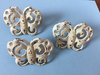 Cast Iron Butterfly Drawer Pulls Knobs Hardware Lot Of 3-