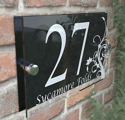 Decorative House Signs Plaques Door Numbers 1 - 999 Personalised Name DEC-13W-B