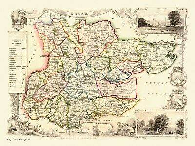 "Old map of Essex 1836 by Thomas Moule -  12"" x 9"" Photographic Print"