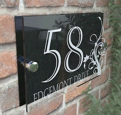 Decorative House Signs Plaques Door Numbers 1 - 999 Personalised Name DEC-24W-B