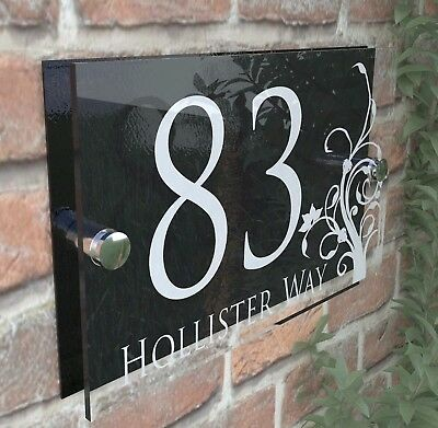 Decorative House Signs Plaques Door Numbers 1 - 999 Personalised Name DEC-28W-B