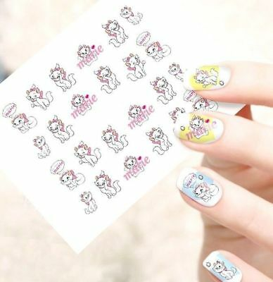 ❤️nouveau Stickers Disney Marie Bijoux Ongles Water Decal Nail Art Manucure