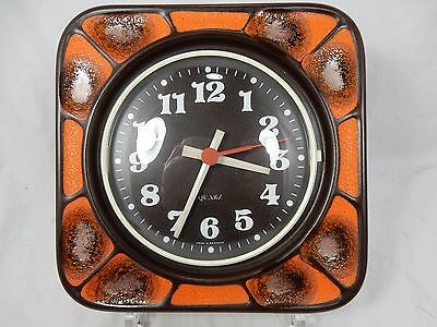 Cool 70´s design pottery wall clock orange glaze # Keramik Wand Uhr working