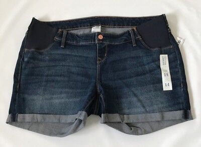 Old Navy 14 16 Shorts Maternity Denim Distressed Side Panel NWT