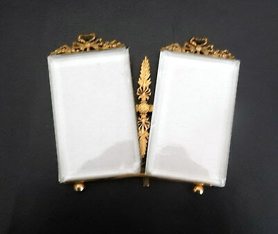 Rare French Antique Brass & Beveled Glass Double Photo Frame – Nap III