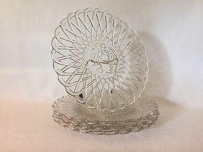 4 Crystal PRETZEL # 622 Indiana Glass INTAGLIO FRUIT Dinner Plates Free U.S Ship