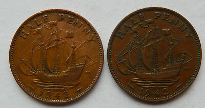 "1942 UK / Great Britain Half Penny Coin ""Lot of 2 Coins""  SB5078"