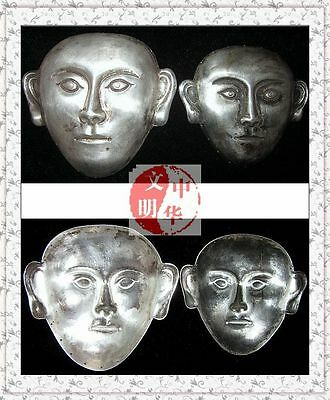 """Liao Kingdom Khitay Noble Couple Tomb Site Head Face Pendant Silver Mask面具3""""Pair"""