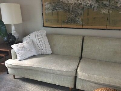 Vintage Mid Century Modern Sectional Sofa, Couch, White Tweed