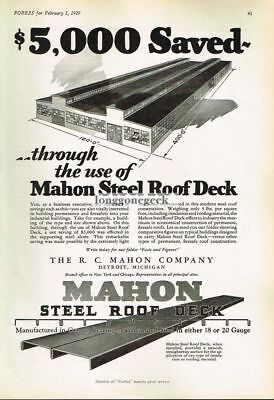 1929 R.C. Mahon Steel Roof Deck $5000 Saved Vtg Print Ad