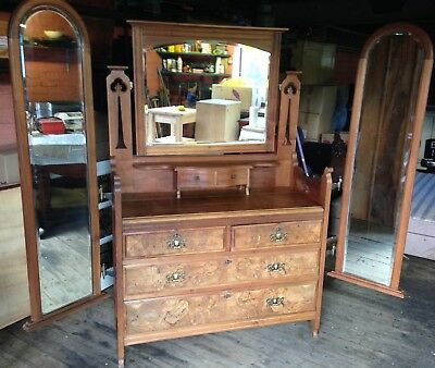Antique Edwardian Oak Dressing Table / Chest Of Drawers With Mirror
