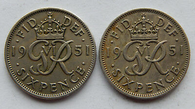"""1951 UK / Great Britain Six Pence Coin KM#875 """"Lot of 2 Coins"""" 1 VF, 1 XF SB5087"""