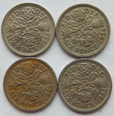 """1954 UK / Great Britain Six Pence Coin KM#903 """"Lot of 4 Coins"""" 3 VF 1 UNC SB5089"""