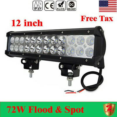 72W 12 inch Car Led Work Light Bar Flood Spot Auto Boat Driving Lamp Offroad 4WD