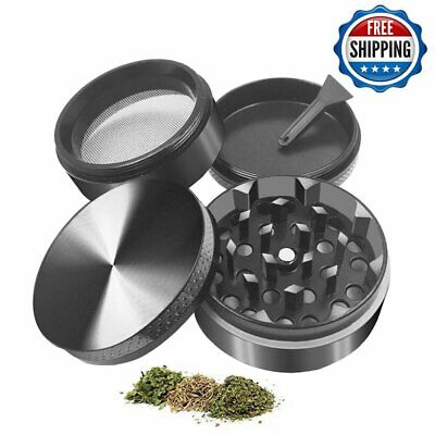New Black 4Piece 44mm 1.5 inch Metal Alloy Cigarette Tobacco Herb Grinder Magnet