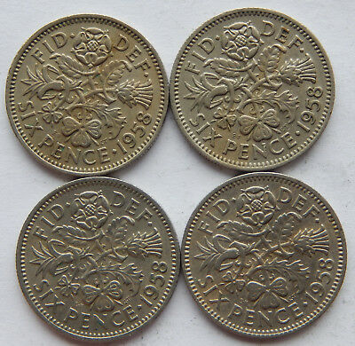 """1958 UK / Great Britain Six Pence Coin KM#903  """"Lot of 4 Coins""""  SB5092"""